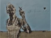 'sous les paves, les plage', compressed charcoal,conte and spraypaint on paper, 50 x 65 cm, 2017