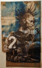 'space-punk 2', compressed charcoal,conte and spraypaint on packaging, 30 x 50 cm, 2017