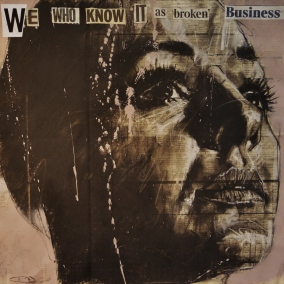 'we who know it as broken business', compressed charcoal,conte and spraypaint on newsprint, 50 x 50 cm, 2017