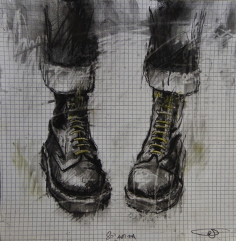 """Night out with yellow laces (anti-fascist action)"", conte and pastel on graph paper, 28 x 28 cm, 2016"