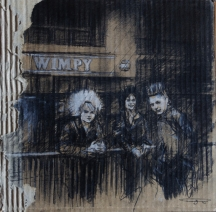 """""""The wimpy kids"""". conte and pastel on card, 28 x 28 cm, 2016"""