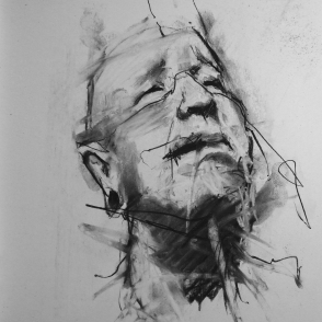 """""""Twenty-four hours in the life of a madman"""" (part), conte and chalk on paper, 24 x 24 cm"""