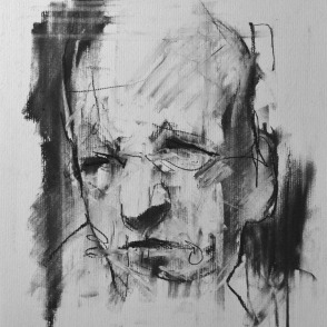 """Twenty-four hours in the life of a madman"" (part), conte and chalk on paper, 24 x 24 cm"
