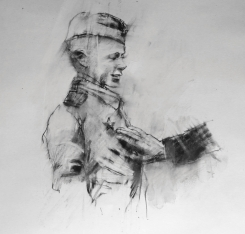 """""""The hand of man (heroes)"""", conte on paper, 30 x 30 cm"""