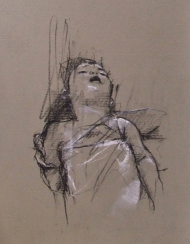 """""""The hand of man (Syria)"""", conte and pastel on paper, 20 x 32 cm"""