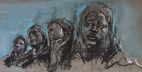 """""""The hand of man (mothers of Chibok)"""", conte and pastel on paper, 40 x 20 cm"""