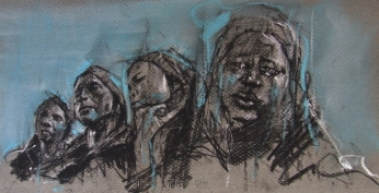 """The hand of man (mothers of Chibok)"", conte and pastel on paper, 40 x 20 cm"