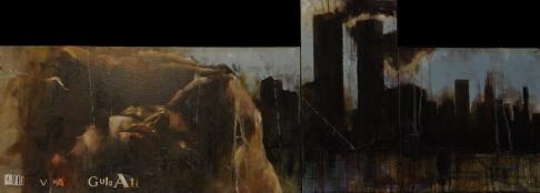 'chi v'ha guidati, o che vi fu lucerna, uscendo fuor de la profonda notte', oil on canvas, 110 x 40cm