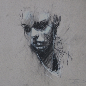 'crush', conte and pastel on paper, 21 x 21cm