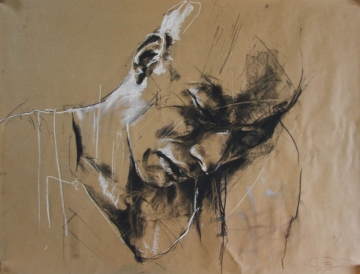 """don't leave home without it"", conte and chalk on paper, 80 x 60 cm, 2009"