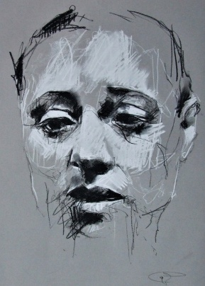 'Dreyfus', conte and chalk on paper, 50 x 65cm