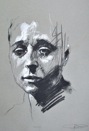 'Frongoch', conte and chalk on paper, 50 x 65cm