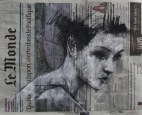 'fuck the markets', conte and pastel on newsprint, 32 x 38cm