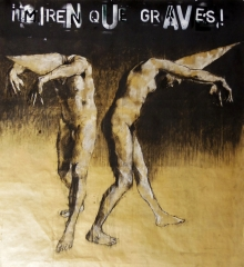 """ ¡Miren qué graves!"", conte, pastel and aerosol on paper, 100 x 110 cm, 2016"