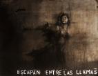 """""""escapan entre las llamas"""", conte, pastel and aerosol on paper, 100 x 120 cm, 2016"""