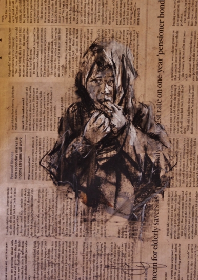 """The Disasters of War 7"", conte and chalk on newsprint, 30 x 20 cm, 2016"