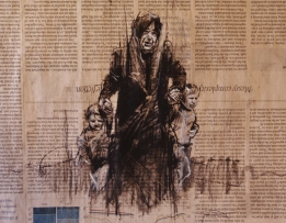 """The Disasters of War 10"", conte and chalk on newsprint, 30 x 20 cm, 2016"