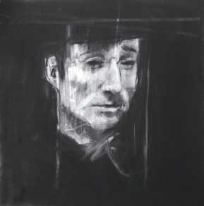 """L'abri Sadi-Carnot (all the people they could have been)"", conte and chalk on paper, 30 x 30 cm"