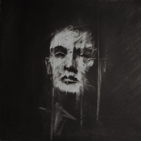 """""""L'abri Sadi-Carnot (all the people they could have been)"""", conte and chalk on paper, 30 x 30 cm"""