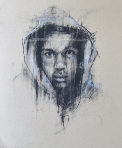 """The hand of man (Trayvon Martin)"", conte and pastel on paper, 25 x 25cm"