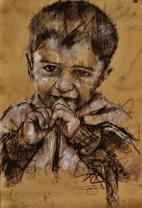 """boat children 1"", conte and chalk on paper, 50 x 75 cm, 2016"