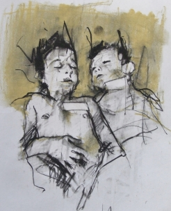 """""""The hand of man (acceptable losses)"""", conte and pastel on paper, 30 x 35 cm"""