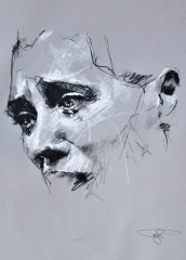 'Halabja', conte and chalk on paper, 50 x 65cm