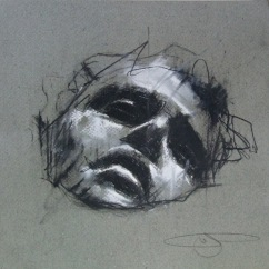 'hell', conte and chalk on paper, 21 x 21cm