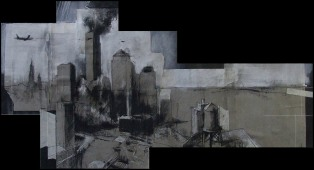 'imaginary construction for a history painting', conte and chalk on paper, 40 x 80cm