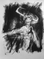 'in a bull market, like Goya, I saw this', conte and pastel on paper, 30 x 40cm