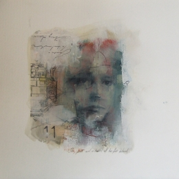 'Looking for Beatrice (11)', oil and collage on paper 30 x 30 cm