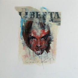 'Looking for Beatrice (33)', oil and collage on paper 30 x 30 cm, 2011