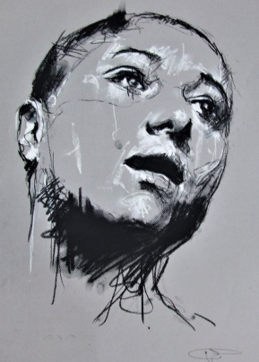 'Messines', conte and chalk on paper, 50 x 65cm