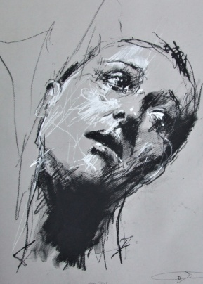 'Moral Panic', conte and chalk on paper, 50 x 65cm