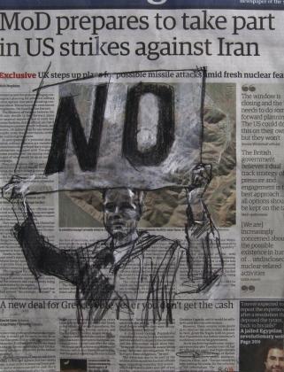 'Noor Khan - London (war is a racket)', conte and pastel on newsprint, 27 x 36cm