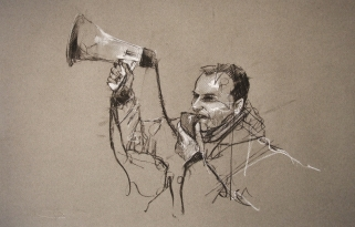'occupy Berlin', conte and pastel on paper, 50 x 33cm