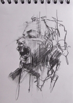 'occupy Bristol', conte and pastel on paper, 21 x15cm