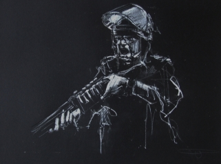 'occupy (follow the money)', pastel on paper, 32 x 24cm