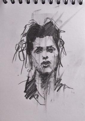 'occupy (indignados Madrid)', conte and pastel on paper, 21 x 15cm