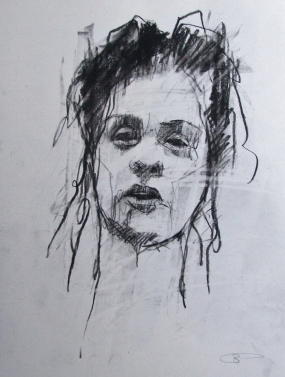 'occupy (indignados Madrid)', conte and pastel on paper, 24 x 30cm