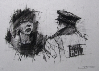 'occupy London (police line)', conte and pastel on paper, 40 x30cm