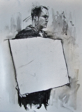'occupy London - the sound of free speech', conte and pastel on paper, 24 x 32cm