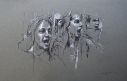 'occupy milano (allievi che cantano)', conte and pastel on paper, 32 x 50cm