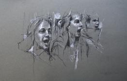 'occupy milano (allievi che cantano)', conte and pastel on paper, 32 x 50cm