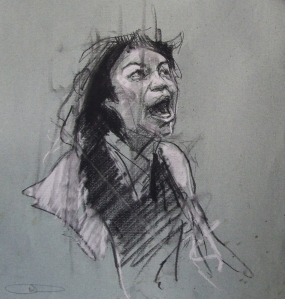 'occupy Oakland (California dreaming)', conte and pastel on paper, 28 x 28cm