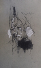 'occupy Oakland (soldier down)', conte and pastel on paper, 30 x 50cm