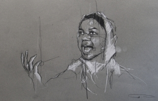'occupy Oakland (they kept shooting)', conte and pastel on paper, 45 x 30cm