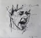 'occupy Portland (baton strike)', conte and pastel on paper, 30 x 30cm