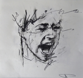 'occupy Portland (baton strike)', conte and pastel on paper, 30 x 30cm