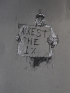 'occupy (the 99 percent)', conte and pastel on paper, 30 x 40cm